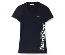 Damen-T-Shirt aus technischem Jersey mit Schriftzug LACOSTEL!VE