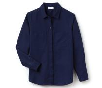 Weite Damen-Bluse aus Baumwoll-Leinen-Canvas mit Taschen