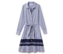 Damen-Hemdkleid aus gestreifter Baumwoll-Popeline mit Gürtel