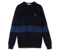 Damen-V-Pullover aus gestreifter Baumwolle LACOSTESPORTGOLF