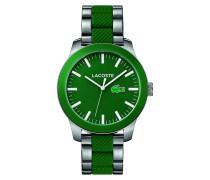 Uhr mit Armband aus Edelstahl und grünem Silikon LACOSTE.12.12