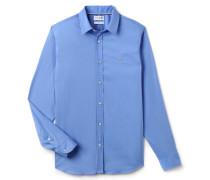 Slim Fit Hemd aus farbiger dehnbarer Baumwollpopeline
