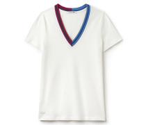 T-Shirt mit V-Ausschnitt aus hochwertigem Piqué mit gestreiften Akzenten