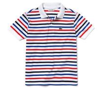 Kinder-Polo aus Baumwoll-Piqué mit melierten und einfarbigen Streifen