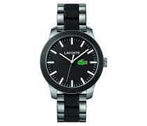 Uhr mit Armband aus Edelstahl und schwarzem Silikon LACOSTE.12.12