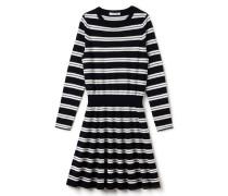 Eng anliegendes Damen-Pullover-Kleid mit glockenförmigem Rock aus Wolljersey