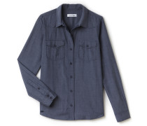 Slim Fit Damen-Bluse aus Baumwoll-Chambray mit Jeans-Effekt