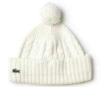 Damen-Pudelmütze aus Wolle mit Zopfmuster LACOSTEL!VE