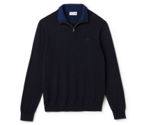 Men's Zippered Stand-Up Collar Jersey Sweater