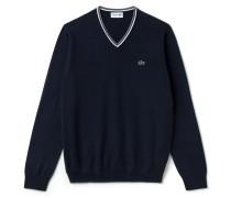 Herren-Pullover mit V-Ausschnitt aus gestreiftem Baumwolljersey