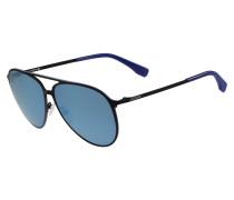 Schwarze Piloten-Sonnenbrille mit blauer Paspel