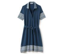 Damen-Polokleid aus Baumwoll-Piqué mit Gürtel und Streifenmuster