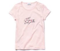 Mädchen-Rundhals-Shirt aus Jersey mit Punkten und Krokodil