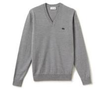 Herren-Pullover mit V-Ausschnitt aus Wolljersey