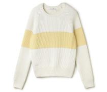 Damen-Rundhalspullover aus gerippter Wollmischung im Colorblock-Design