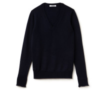 Damen-V-Pullover aus feinem Kaschmir-Jersey