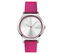 Uhr mit rosa Silikonarmband und silber-weißem Zifferblatt Nikita