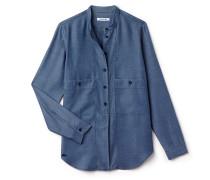 Regular Fit Damen-Bluse aus Chambray mit Taschen