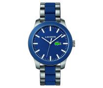 Uhr mit Armband aus Edelstahl und blauem Silikon LACOSTE.12.12
