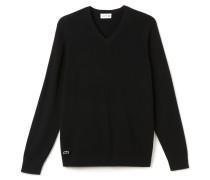 Herren-V-Pullover aus fein gerippter Wolle
