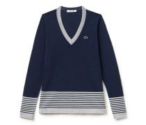 V-Pullover aus gestreiftem Jersey