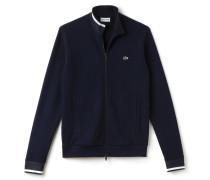 Herren-Sweatshirt-Jacke aus Fleece mit Kontrast-Bündchen