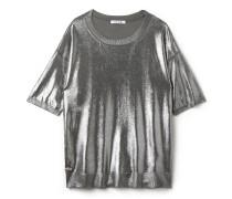 Damen-Oberteil aus fließendem Jersey in Silber
