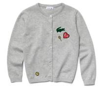 Kinder-Strickjacke aus Baumwolle und Wolle mit Perlen-Details