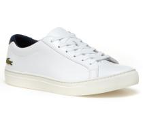 Damen-Sneakers L.12.12 aus glänzendem Leder mit Kontrastferse