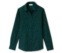 RegularFit Damen-Bluse aus vollständig bedrucktem Baumwoll-Seiden-Voile