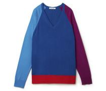 Fließender Damen-Pullover mit V-Ausschnitt im Colorblock-Design