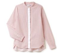 Damen-Bluse aus gewebter Baumwolle mit abgesetzter Knopfleiste