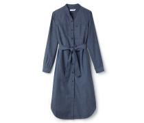 Langes Damen-T-Shirt-Kleid aus Baumwoll-Chambray mit Mao-Kragen
