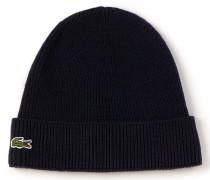 Herren-Mütze aus Wolle mit Cardigan-Rippenmuster mit umgeschlagenem Saum
