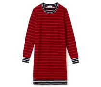 Damen-Rundhalspullover-Kleid aus gestreifter Wolle