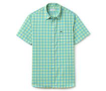 Regular Fit Herren-Hemd aus karierter Popeline
