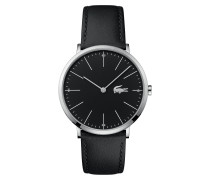 Uhr mit schmalem schwarzem Zifferblatt und Lederarmband Moon