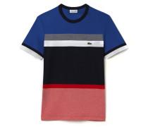 Herren-Rundhals-Shirt aus Waben-Jersey im Colorblock-Design