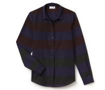 SlimFit Damen-Bluse aus Baumwollvoile und Seide im Colorblock-Design