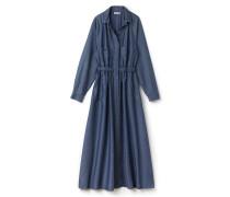 Langes Damen-Kleid aus Chambray mit Gürtel