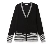 Damen-Strickjacke aus Baumwolljersey mit Streifenakzenten