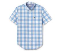Regular Fit Herren-Hemd aus karierter Baumwoll-Popeline