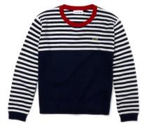 Kinder-Pullover aus gestreifter Wolle und Kaschmir im Colorblock-Design