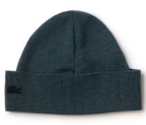 Damen-Mütze aus Wolle und Baumwolle mit optisch abgesetztem Saum