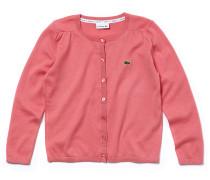 Mädchen-Strickjacke aus Baumwoll-Woll-Jersey mit Knöpfen