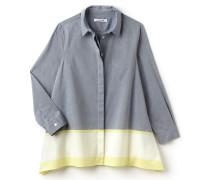 Asymmetrische Damen-Bluse aus Popeline im Colorblock-Design