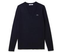 Weiter V-Pullover aus Baumwolljersey im Colorblock-Design