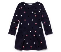 Gepunktetes Mädchen-Sweatshirt-Kleid aus Baumwollfleece