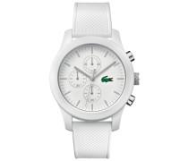 Uhr Lacoste.12.12 Chronograph  mit weisser Silikonbeschichtung und weissem Silikonarmband