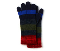 Damen-Handschuhe aus mehrfarbig gestreiftem, mouliniertem Jersey